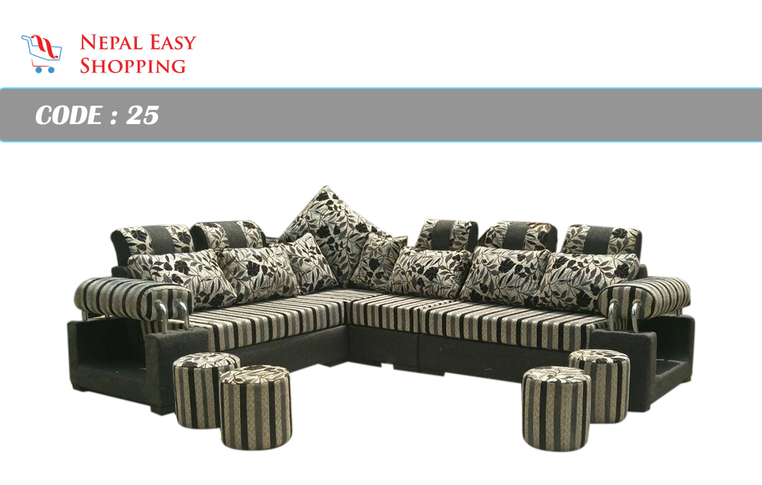 L-Shape Wooden Sectional Sofa -Black