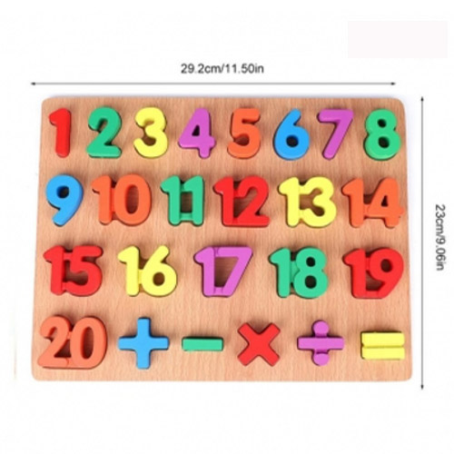 Wooden Puzzle with Numbers for Children , Learning Game with Colours and Shapes