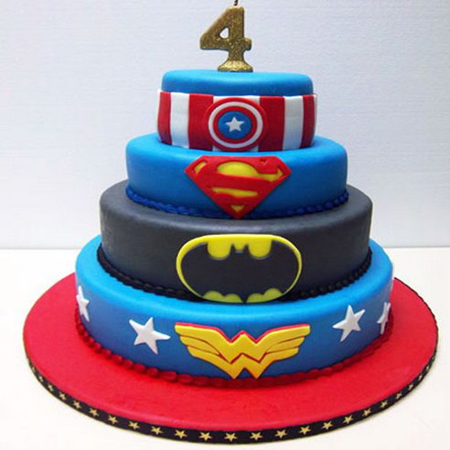 Super Hero Fondant Designed Cake