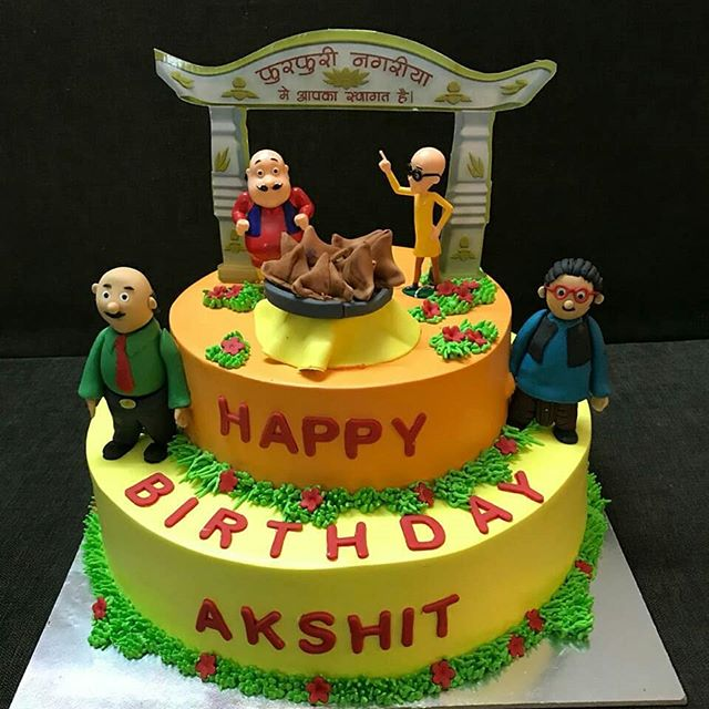 Motu Patlu Cartoon Designed Cake