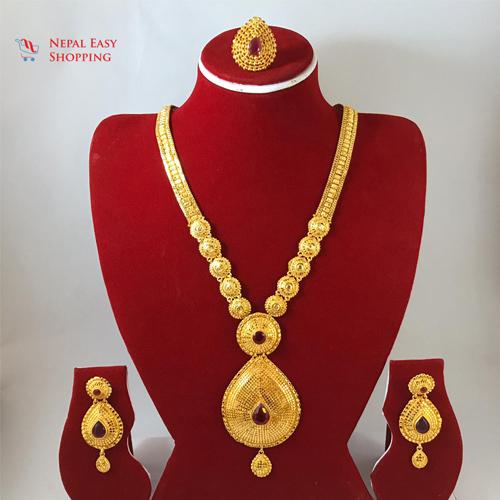 Panchdhatu Gold Plated Rani Haar With Earning Set