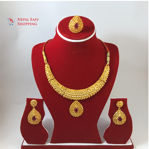 Panchdhatu Gold Plated Rani Haar with Earring Set