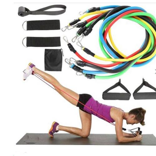 Gym Fitness Equipment Strength Training Latex Elastic Band Resistance Band, 11pcs