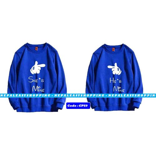 She's Mine & He's Mine - Blue Matching Couple Hoodies - His and Her SweatShirts