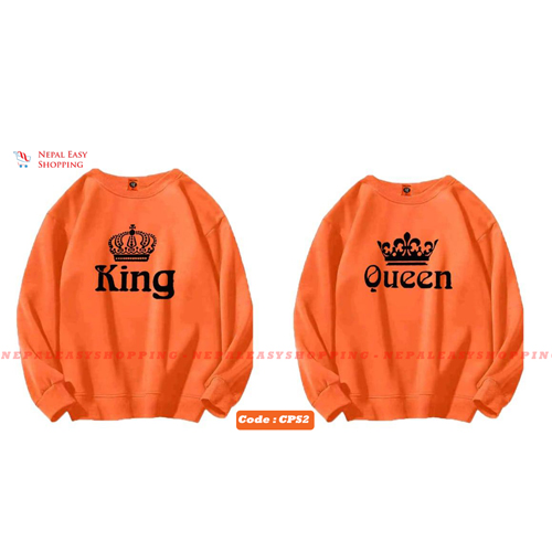 King & Queen - Orange Matching Couple Hoodies - His and Her SweatShirts