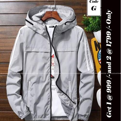 Unisex's Double-Layer Fashion Windbreaker Grey jackets