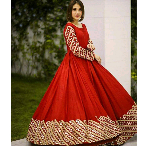 Red Embroidered Semi Stitched Georgette Lehenga With Shawl For Women
