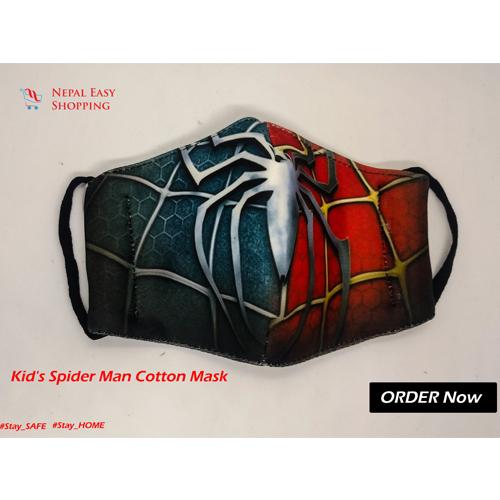Spiderman Printed Cotton Cloth Face Mask Bundle For Kids
