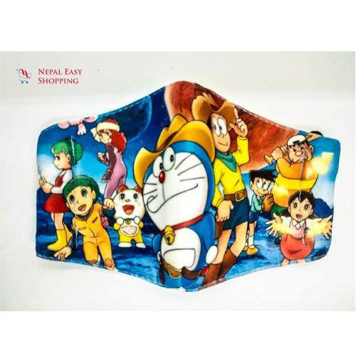 Doreamon Printed Cotton Cloth Face Mask Bundle For Kids