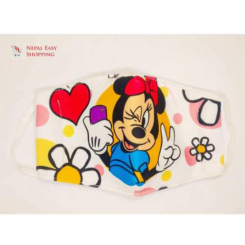 Minnie Mouse Printed Cotton Cloth Face Mask Bundle For Kids