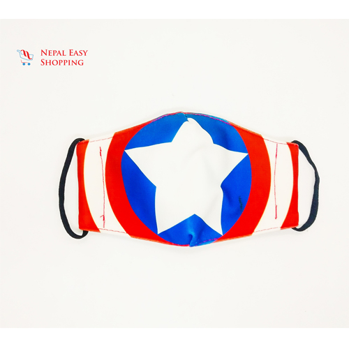 Captain America Printed Cotton Cloth Face Mask Bundle For Kids