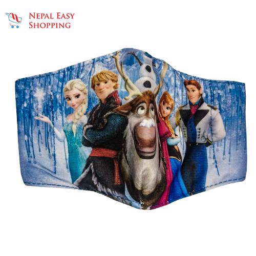 Frozen Printed Cotton Cloth Face Mask Bundle For Kids