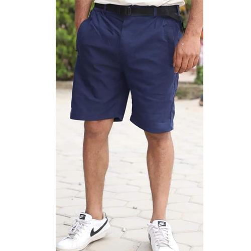 Men's Regular Dark Blue Fit Cotton Woven Shorts