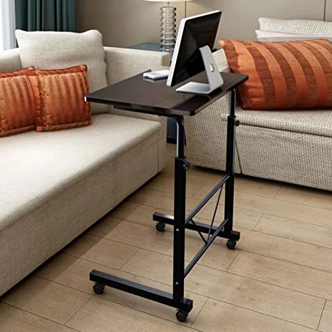 Height Adjustable Sofa Side Table with Wheels,Rolling Coffee Snack Table,Portable Laptop Computer Desk TV Tray Mobile Sofa Chair Side End Table for Living Room Bedroom,Black