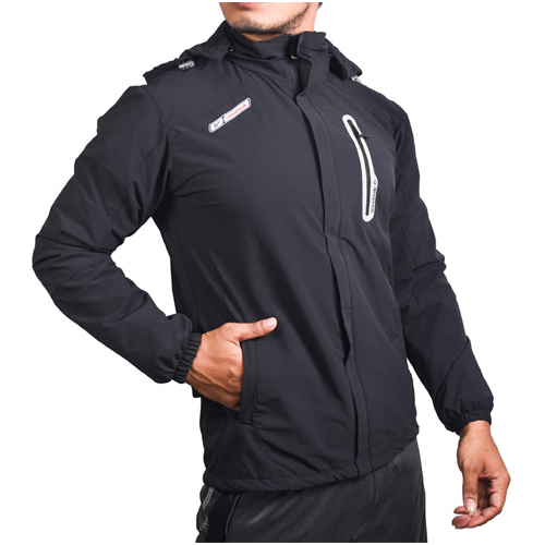 Black Cotton Windcheater Jackets For Men's
