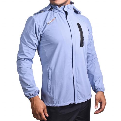 Light Blue Cotton Windcheater Jackets For Men's