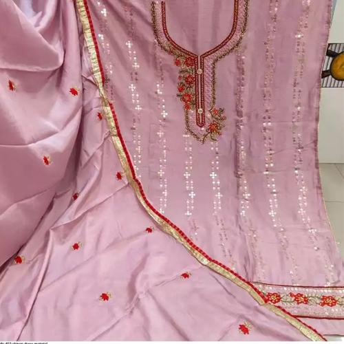 Blush Pink Chinnon Embroidered Unstitched Kurta Salwar And Shawl Set For Women