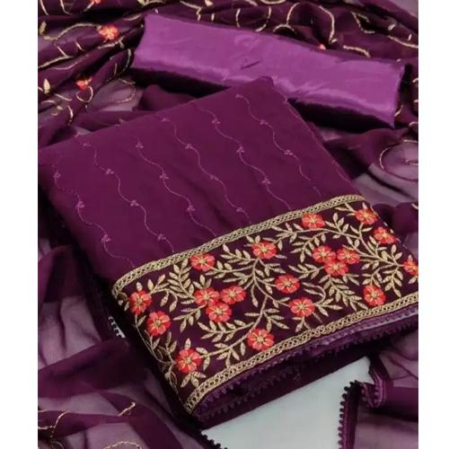 Purple/Wine Embroidered Work Kurta Salwar And Shawl Set For Women