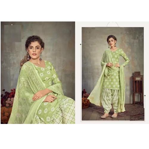 Green Cambric cotton Kurta Salwar And Shawl Set For Women