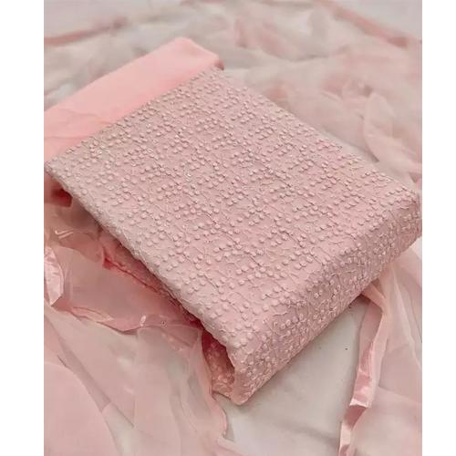 Peach Thread Embroidered Unstitched Work Kurta Salwar And Shawl Set For Women