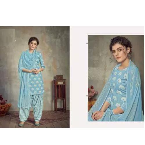 Blue Cambric cotton Kurta Salwar And Shawl Set For Women