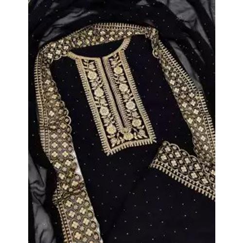 Black Embroidered Work Kurta Salwar And Shawl Set For Womens